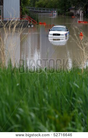 Submerged Police Car
