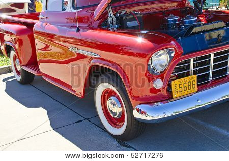Red 1955 Chevrolet pickup truck