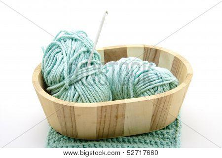 Crochet needle with crochet wool
