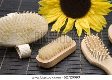 Hand and hairbrush