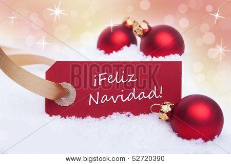 Red Tag With Feliz Navidad