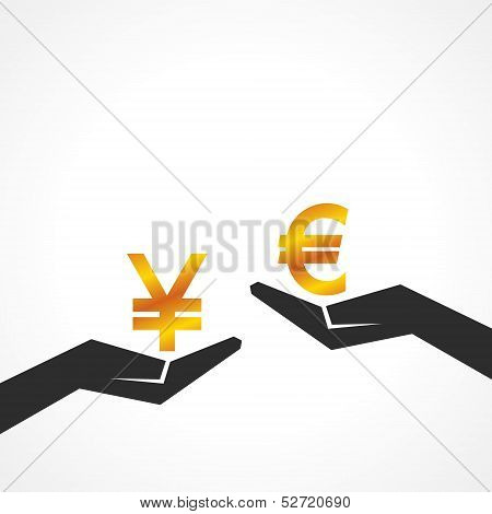 Hand hold yen and euro symbol to compare their value stock vector
