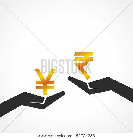 Hand hold yen and rupee symbol to compare their value stock vector