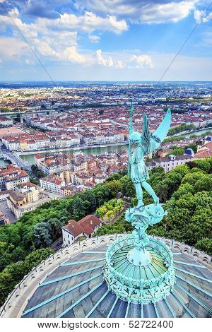 Vertical View Of Lyon From The Top Of Notre Dame De Fourviere