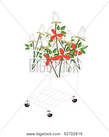 White Rose Bouquets With Ribbon In Shopping Cart