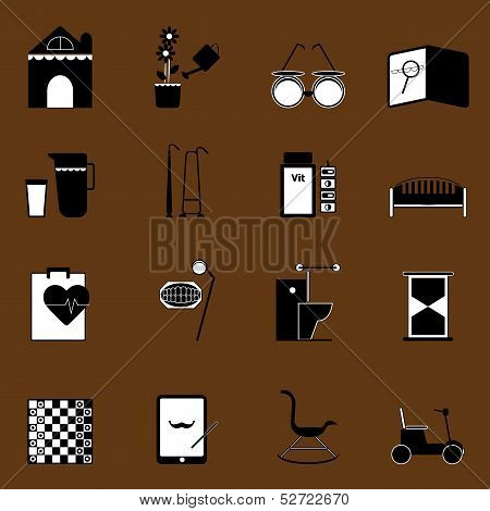 Elderly Related Icons On Brown Background