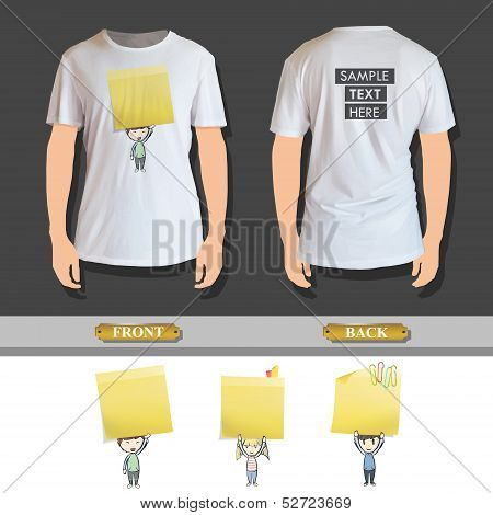 Group Of Kids Holding Yellow Paper Printed On Shirt. Vector Design