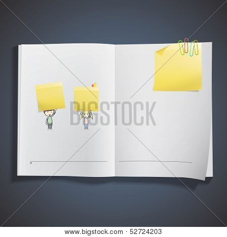 Group Of Kids Holding Yellow Paper Printed On Book. Vector Design