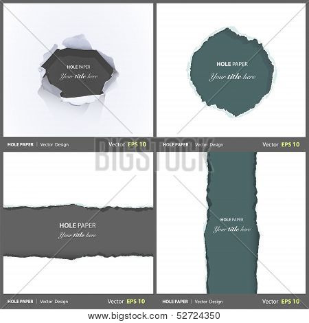 Set Of Holes Over White Background. Vector Design.