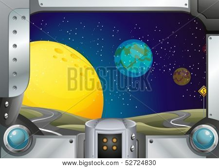 Illustration of a metal frame with a view of the outer-space