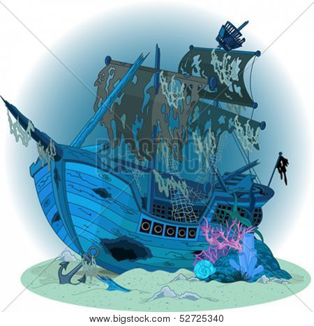 Underwater background with old ship