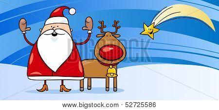 Santa Claus With Reindeer Greeting Card