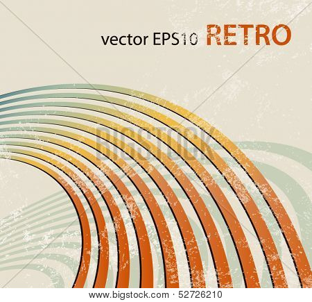 Retro background with curved lines - radio waves - abstract music template