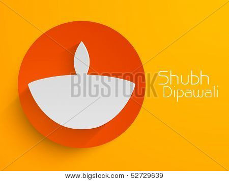 Indian festival Shubh Dipawali (Happy Dipawali) sticker, tag or label with creative paper design of tradition oil lit lamp on bright yellow background.