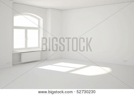 White Room With Window And Sunbeam
