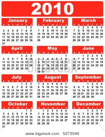 Calendar 2010 Red