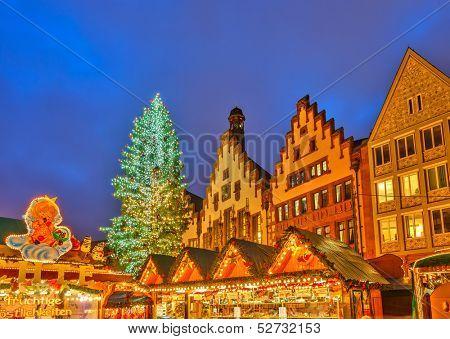 FRANKFURT -  DECEMBER 19 2012: Traditional christmas market in the historic center of Frankfurt, Germany on December 19, 2012.  The very first Christmas market was held in Frankfurt in 1393.