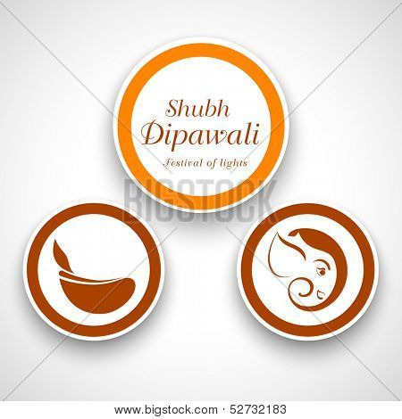 Indian festival of lights, Shubh Dipawali (Happy DIpawali), stickers, tags or labels on abstract grey background.