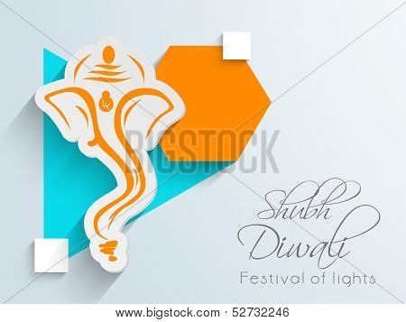 Creative illustration of Hindu mythology Lord Ganesha on colorful abstract background for Indian festival of lights, Shubh Dipawali (Happy Dipawali).