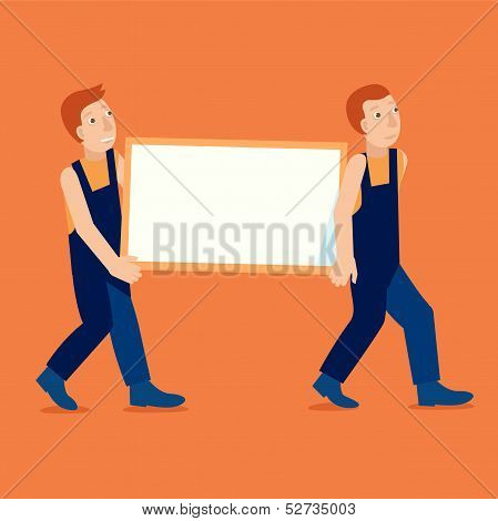 Vector Characters Holding Empty Frame