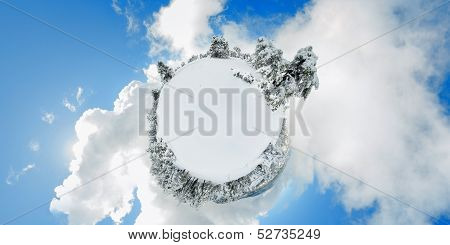 Troodos mountains. Snowy Little Planet
