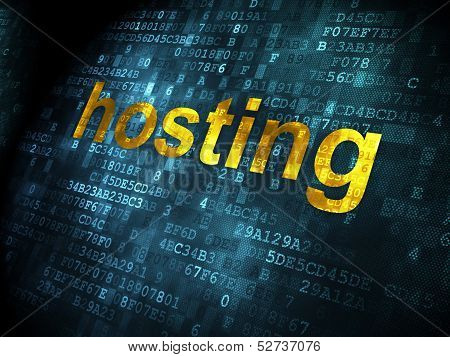 SEO web development concept: Hosting on digital background
