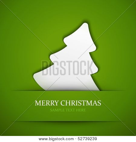 Merry Christmas tree applique vector background. Christmas card or invitation.
