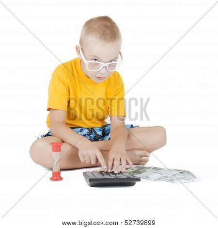 Child With Glasses Counts The Money