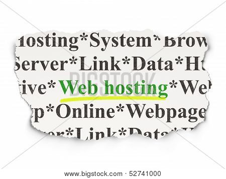 Web development concept: Web Hosting on Paper background