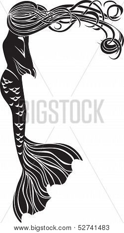 Crying mermaid stencil