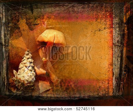 Vintage Wooden Frame On Autumn Background