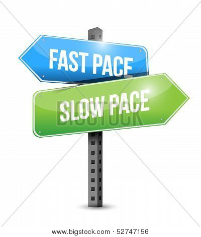 Fast Pace Slow Pace Road Sign Illustration Design