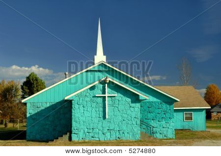 Aqua painted church