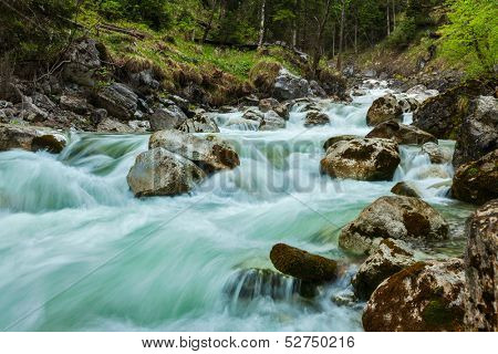 Cascade of Kuhfluchtwasserfall. Long exposure for motion blur. Farchant, Garmisch-Partenkirchen, Bavaria, Germany