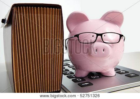 Pig Bank And Brief Case