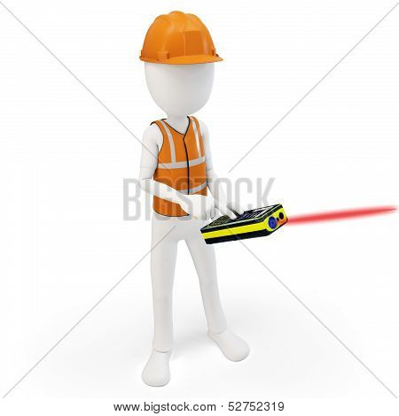 3D Man Surveyor With Laser Distance Meter ,hardhat And Safety Vest