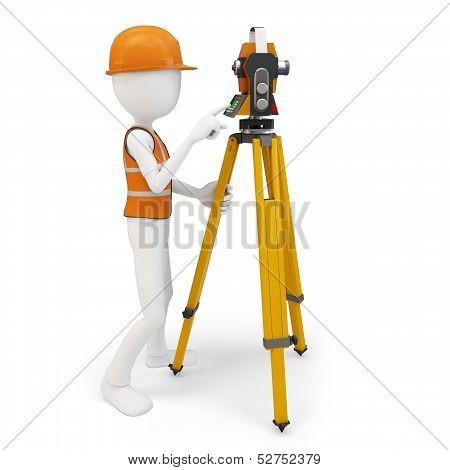 3D Man Surveyor With Station ,hardhat And Safety Vest