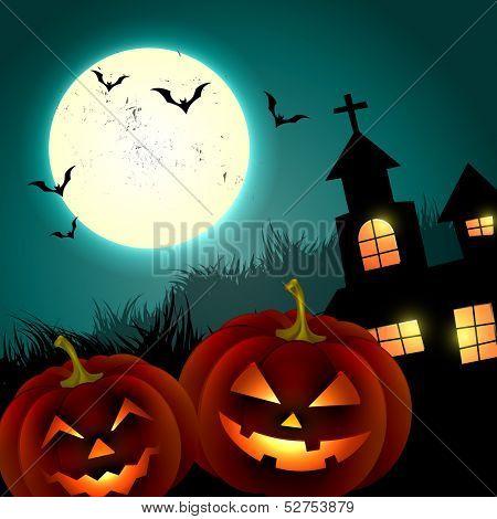 halloween creepy pumpkin design illustration