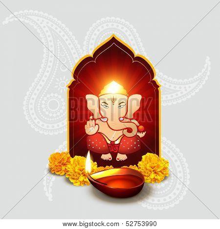 beautiful indian god ganesha with diwali diya