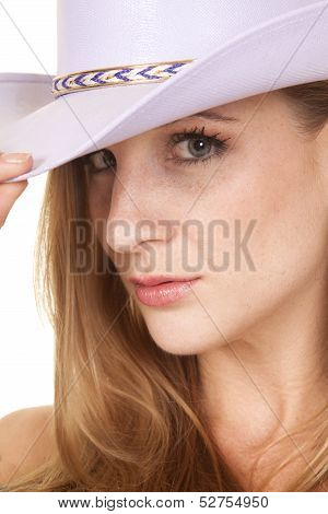 Cowgirl Headshot Close Purple Hat