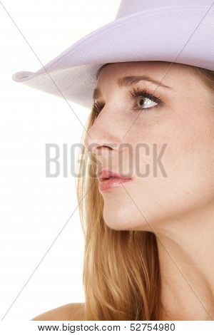 Cowgirl Headshot Side Look Purple Hat