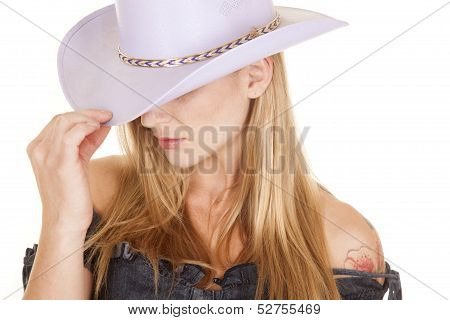 Woman Purple Cowgirl Hat Close Touch