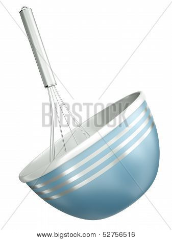 Blue Bowl With A Whisk