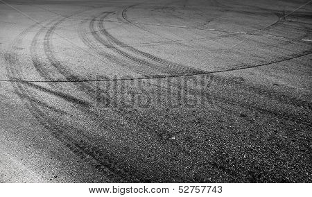 Abstract Turning Road Background With Tires Track