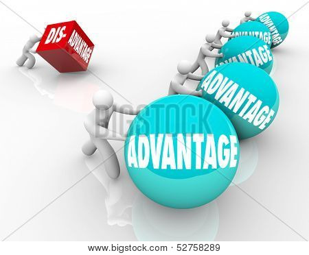 A team pushing or rolling balls marked Advantage winning a race vs a single man or person trying to push a cube with the word Disadvantage