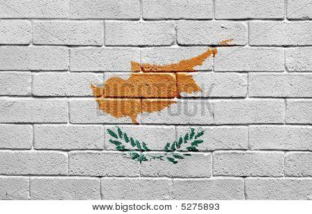 Flag Of Cyprus On Brick Wall