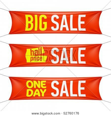 Big, half price and one day sale banners. Vector.
