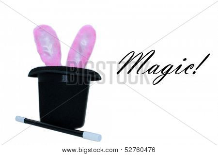 A Magicians Hat, Magic Wand, and Pink Bunny Ears. The perfect Magical image for all your needs.