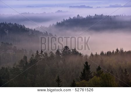 foggy dawn over the national park Bohemian Switzerland, Czech Republic