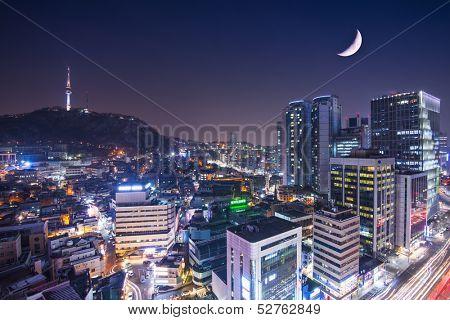 Seoul, South Korea with Namsan Mountain.
